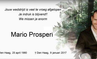 Den Haag /Boskoop – Dankwoord familie Mario Prosperi