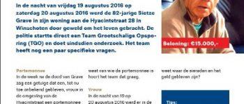 Winschoten – Politie heeft extra vragen in onderzoek naar dood Sietze Grave