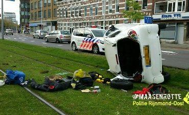 Rotterdam – Over de kop geslagen bestuurder Schieweg vluchtte voor openstaande boetes