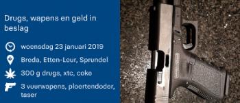 Breda/ Sprundel/ Etten-Leur – Drugs, wapens en geld gevonden