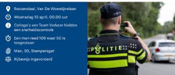 Roosendaal – Rijbewijs kwijt na snelheidscontrole