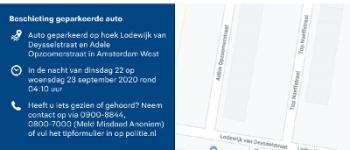 Amsterdam – Beschoten auto Lodewijk van Deysselstraat: politie zoekt getuigen