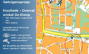 Enschede – Politie doet onderzoek naar overval in winkel aan De Klomp en vraagt om beeldmateriaal
