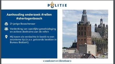 's-Hertogenbosch – Weer één verdachte opgepakt voor rellen Den Bosch
